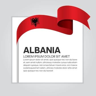 알바니아 리본 플래그, 흰색 배경에 벡터 일러스트 레이 션