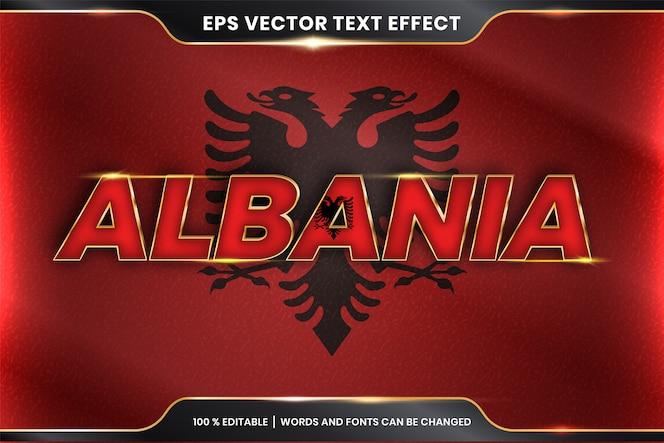 Albania con la sua bandiera nazionale del paese, stile di effetto di testo modificabile con il concetto di colore oro