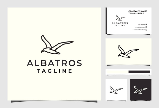 Albatros bird line дизайн логотипа животное премиум векторы