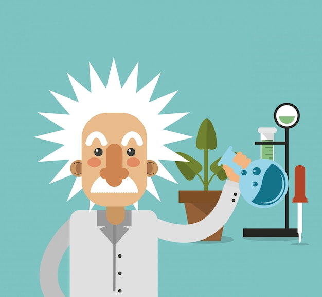 Albert einstein with science related icons image