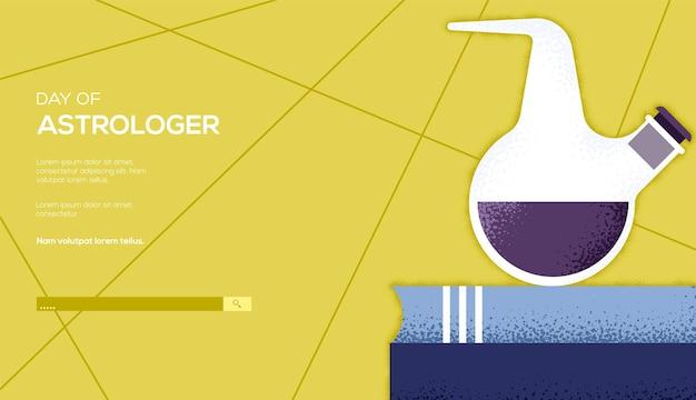 Alchemist's bottle concept, web banner, ui header, enter site. grain texture and noise effect. place for text, place for copying.