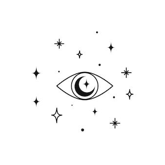魔術の目の神聖幾何学を持つ錬金術の秘教の魔法の天の護符。精神的なオカルトオブジェクト。ベクトルイラスト