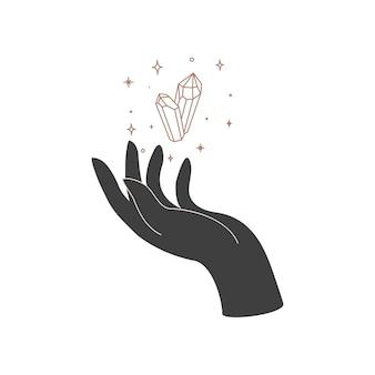 女性の手と魔法の結晶の神聖幾何学を持つ錬金術の秘教の神秘的な天の護符。精神的なオカルトオブジェクト。ベクトルイラスト