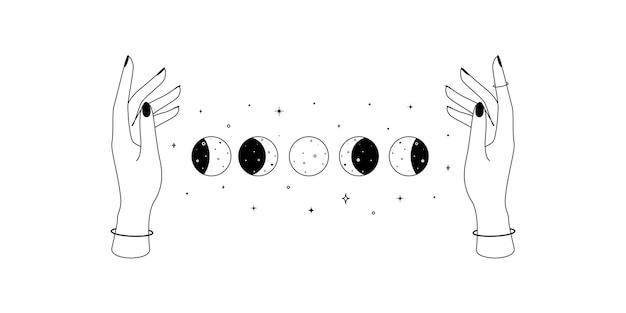 女性の手と月の満ち欠けの錬金術の難解な神秘的な魔法の天体のシンボルは、精神的なocを概説します...