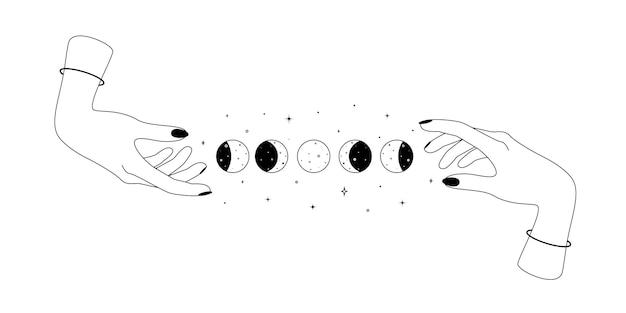 錬金術の秘教の神秘的な魔法の天体のシンボルと人間の手と月の周期の概要精神的な...