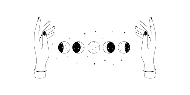 Alchemy esoteric mystical magic celestial symbol of woman hands and moon phases outline spiritual oc...