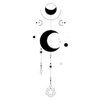 달과 연금술 밀교 신비로운 마법 천체 부적, 고립 된 신성한 기하학 별
