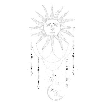 태양, 달, 고립 된 신성한 기하학 별 연금술 밀교 신비로운 마법 천체 부적