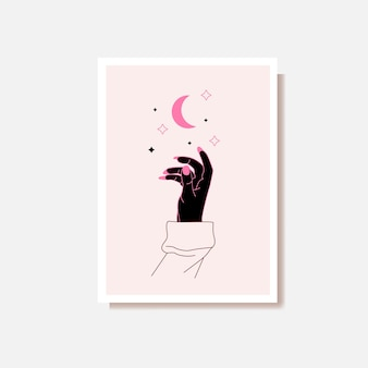 Alchemy esoteric mystical magic celestial talisman with woman hand