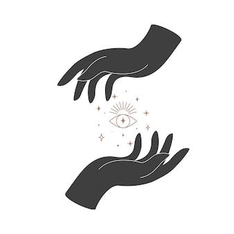 女性の手と目の神聖幾何学を持つ錬金術の秘教の神秘的な魔法の天の護符。精神的なオカルトオブジェクト。ベクトルイラスト