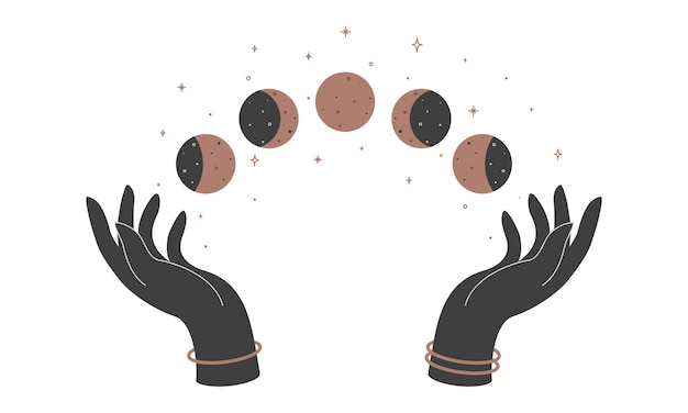 Alchemy esoteric mystical magic celestial talisman with woman hands and moon phases. spiritual occultism object. vector illustration.