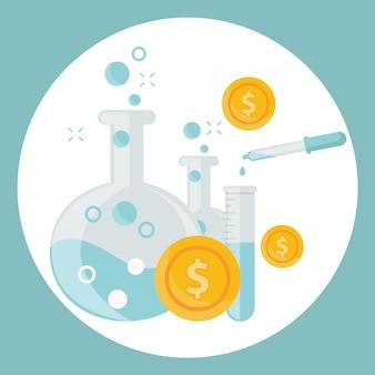 Алхимический эксперимент по генерированию денег и идей с помощью лабораторного оборудования
