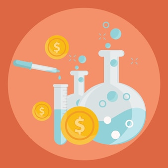 Alchemy experiment for generating money and ideas with laboratory equipments