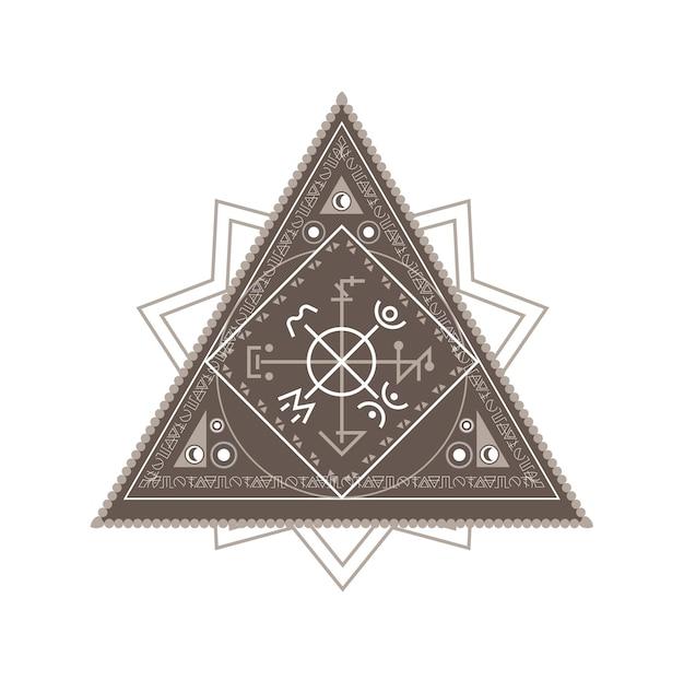 錬金術幾何学シンボル白い背景の上の神秘的な三角形