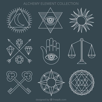 Alchemy ornaments and symbols