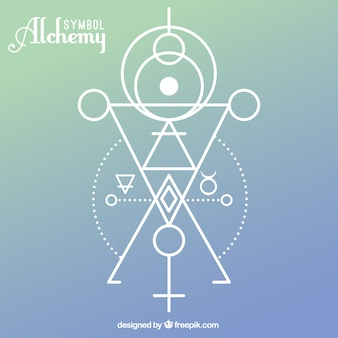 Alchemy symbol with geometric shapes
