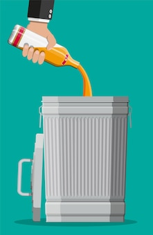 Alcohol abuse concept. hand pours whiskey in garbage bin. bottle of bourbon. stop alcoholism. rejection. vector illustration in flat style.