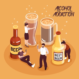 Изометрические композиции злоупотребления алкоголем человеческие персонажи с пивом в бутылках и стаканах на песке фоне векторные иллюстрации