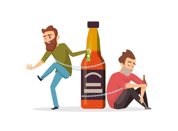 Алкоголик. пьяные мужчины, злоупотребление алкоголем векторные иллюстрации. концепция алкоголизма. злоупотребление алкоголем, наркоман, наркомания в состоянии алкогольного опьянения