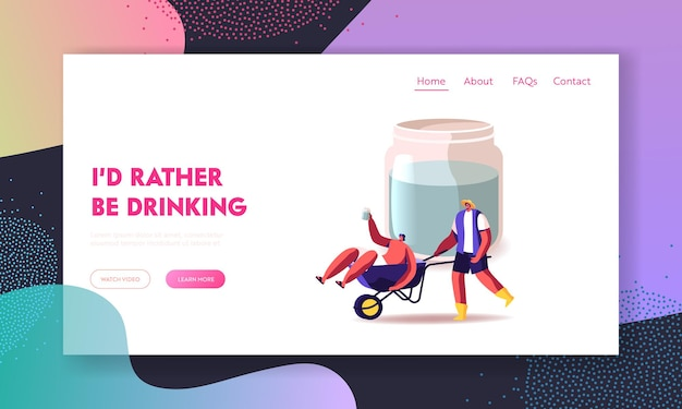 Alcohol addiction, home brewing landing page template.