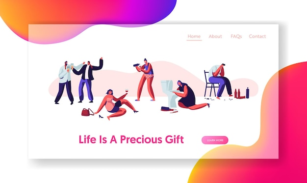 Alcohol addiction people. male and female characters have pernicious habits addictions and substance abuse, drunk men and women website landing page, web page. cartoon flat vector illustration