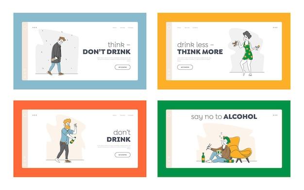 Alcohol addiction set illustrations