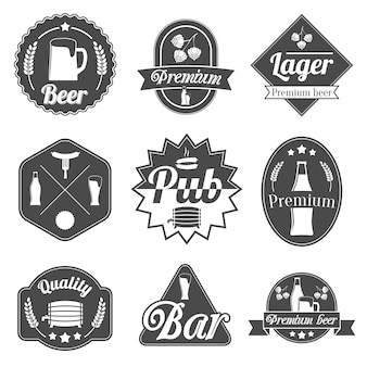 Alcohol beer party labels badges collection of bottle glass mug crayfish and lobster isolated hand drawn sketch vector illustration