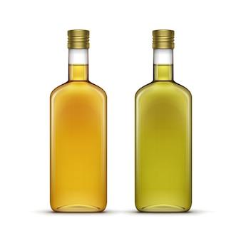 Алкогольные напитки напитки виски или подсолнечное оливковое масло стеклянные бутылки