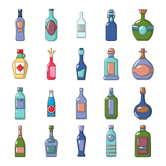 Alcohol bottle icon set. cartoon set of alcohol bottle vector icons collection isolated
