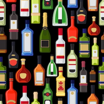 Alcohol bottles colorful pattern. vector illustration