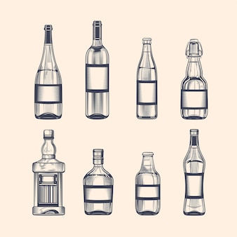 Alcohol bottles set in engraving style