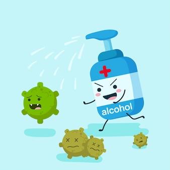 消毒コロナウイルスを実行しているフラットスタイルのアルコール文字。ポンプ、スプレー、またはゲルのボトル。ヘルスケアと医療のイラストデザインコンセプト。コロナウイルスとcovid-19の概念を停止します。
