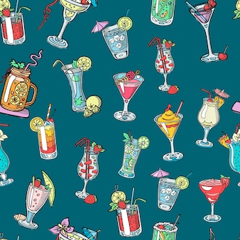 Alcohol cocktail drinks of martini, margarita, tequila or vodka seamless pattern