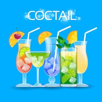 Alcohol cocktail set glasses drinks