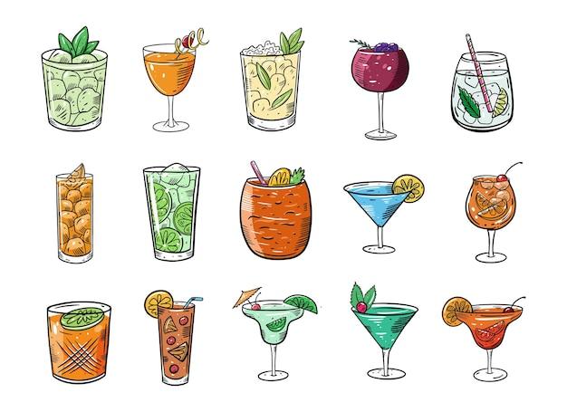 Большой набор алкогольных коктейлей. мультфильм плоский красочные иллюстрации. изолированные на белом фоне. эскизный дизайн текста для кружки, блога, открытки, плаката, баннера и футболки.
