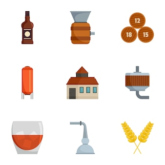 Alcohol distillation icons set, cartoon style