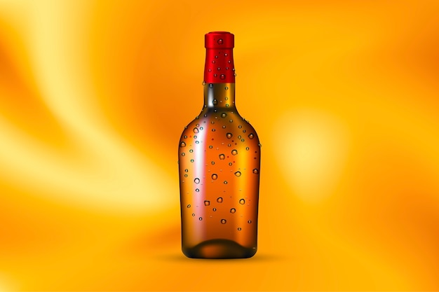 Alcohol drink bottle with dew drops on the gold silk background