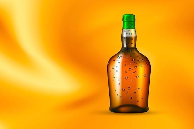 Бутылка алкогольного напитка с каплями росы на золотом шелковом фоне
