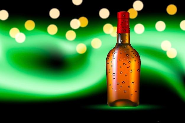 Бутылка алкогольного напитка с каплями росы на фоне полярного сияния