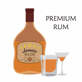 Alcohol drink, rum with glass. jamaica rum
