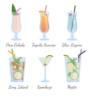 アルコール飲料とカクテル。フラットベクトルイラスト