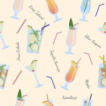 アルコール飲料とカクテルのシームレスなパターン。モヒート、ピニャコラーダ。