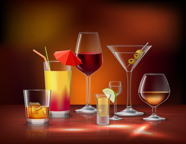Alcohol drinks beverages in glasses decorative icons set