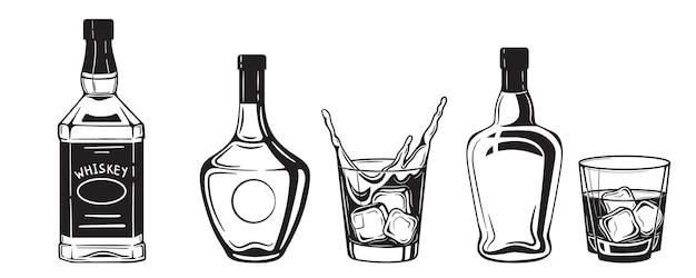 Alcohol drinks bottles engraving black and white vintage style .