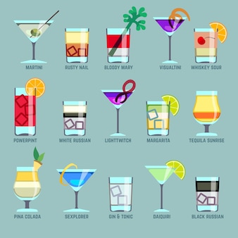 Alcohol drinks and cocktails flat vector icons