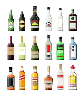 Alcohol drinks collection. bottles with vodka champagne wine whiskey beer brandy tequila cognac liquor vermouth gin rum absinthe sambuca cider bourbon..