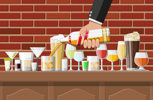Alcohol drinks collection in glasses in bar illustration