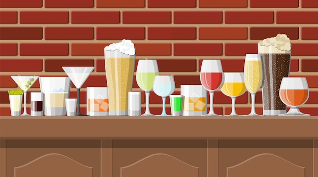 Alcohol drinks collection in glasses in bar