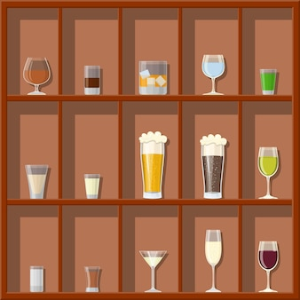 Alcohol drinks collection in glasses on shelves.