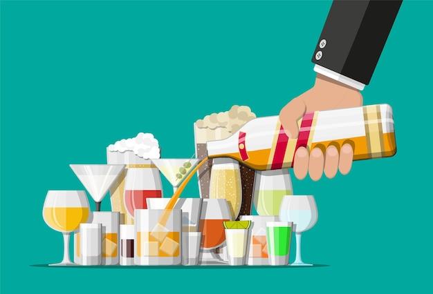 Коллекция алкогольных напитков в очках. водка шампанское вино виски пиво бренди текила коньяк ликер вермут джин ром абсент самбука сидр бурбон ..